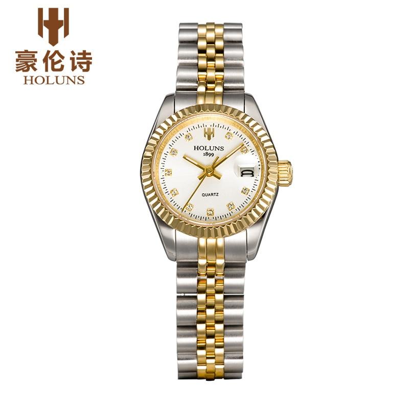 Luxurious Diamond quartz ladies watches business Dress stainless steel waterproof watch love gift 2017 Top sale Fashion holuns<br>