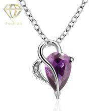 Elegant Purple Austrian Crystal White Gold Color Love Heart & Water Drop Pendant Necklace for Women Girlfriend Valentine Gift