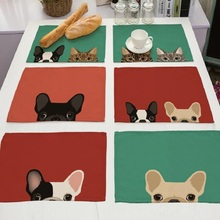 4pcs Placemat Linen Dog Printing Mat Kitchen Accessories Tablecloth Drink Coaster Pad Plate almofada Doilies Heat Insulation Pad