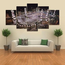Large Poster HD Printed Painting Canvas 5 Panel Kaaba Print Art Home Decor Wall Art Islam Pictures Night Scene For Living Room(China)