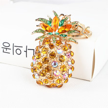 Big Pineapple Ananas Fruit Lovely Pendant Charm Crystal Rhinestone Purse Bag Car Keyring Key Chain Wedding Party Girl Gift