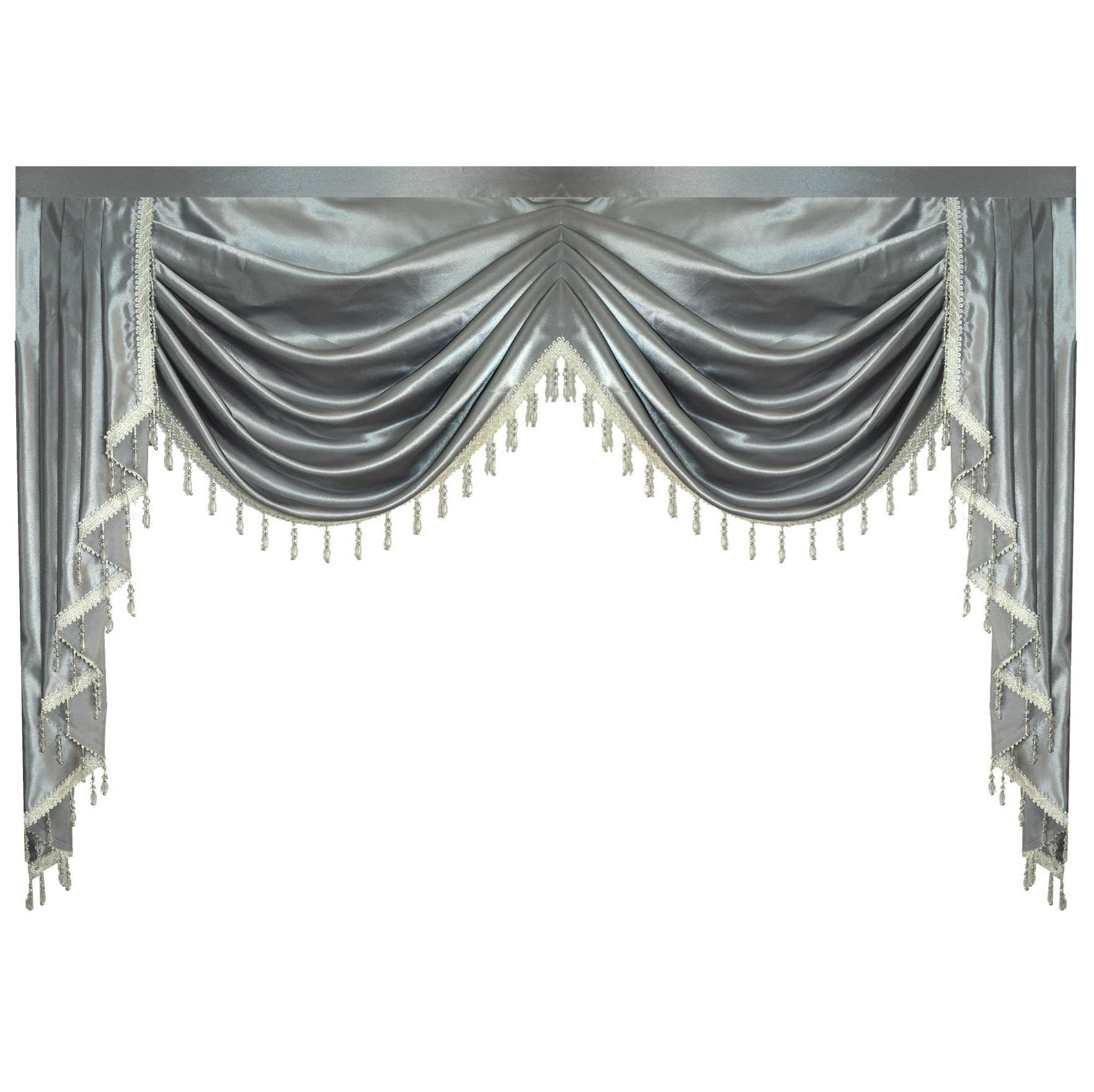 Valance Pure Grey Luxury Color Lambrequin Curtains For