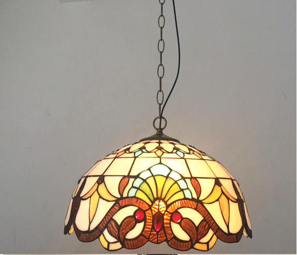 hand made Dia 15/20/30/40cm tiffany led e27 pendant lights for living room dining room vintage colorful glass pendant lamp 1774<br>