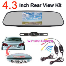 "Wireless 4.3"" TFT LCD 800 x 480 Hd Monitor Car Rear View System Backup Reverse Camera Kit Night Vision license plate camera"