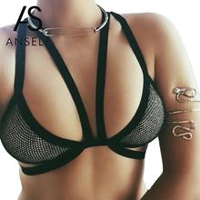 Anself Summer Women's Hollow Out Bralette Bralet Bra Bustier Crop Top Cami Tank Tops Black Mesh Short Tank Tops Plus Size Camis