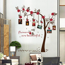 New Chic Family Red Flowers Photo Frame Tree Wall Sticker Living Room Decor Room Decals 0324 60*90CM(China)