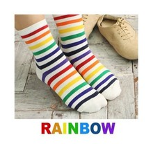 (M042) 2016 new Spring - Winter women's socks,korean colorful striped boot sock,rainbow sock for women,6 pairs/lot,free shipping