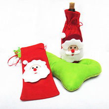 Hot Sales Christmas Decoration Red Santa Wine Bottle Bag Cover Dinner Party Table Xmas Bag
