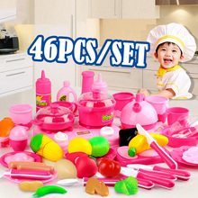 46pcs/set Classic Cooking Toys For Children Pretend Play Cutting Food Set Baby Pink Kitchen Toys  Kids  Gifts