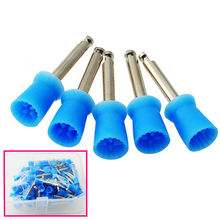 100Pcs Dental Polishing Polish Prophy Cup Brush 4 Webbed Blue Color Latch Type(China)