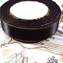25MM 25Yard Black Gold Side Satin Ribbon Riband Band Woven Cords Hair Jewelry Findings