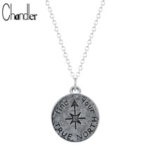 Antique Silver Plated Find Your True North Pendant Necklace Inspirational Compass Graduation Gift for Kids Long Chain Collares