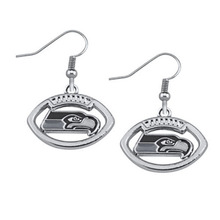 Trendy Football Fans Earrings Alloy With Enamel American Football Seattle Seahawk Charm Drop Earrings (5 Pairs )(China)