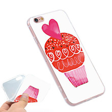 HEARTS CUPCAKE Clear Soft TPU Slim Silicone Phone Case Cover for iPhone 4 4S 5C 5 SE 5S 7 6 6S Plus 4.7 5.5 inch