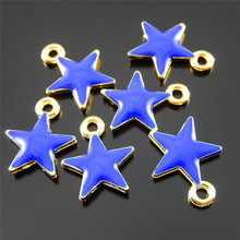 10pcs Cute Small Blue Red Five-pointed Star Jewelry Making Charms Jewelry Making Accessory Handmade Crafts Enamel Finding