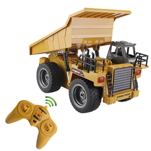 RC Truck Alloy Dumper Tilting Cart 2.4G 6 Ch Tip Lorry Remote Control Mine Truck 4 WD Machine Electronic Vehicle Hobby Toys(China)