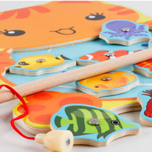 1 PC Baby Toys Kids Magnetic Fishing Game Board Cartoon Frog Cat Wooden Jigsaw Puzzle Educational Toys For Children