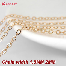 2 Meters width:1.5MM 2MM 24K Champagne Gold Color Brass Flat Oval Chains Necklace Chains High Quality Jewelry Accessories(China)