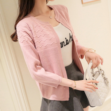 Thin jacket female short paragraph wild solid color sweater women sweater small shawl take 2017 spring new cardigan(China)