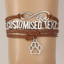 Drop Shipping Infinity Love Customised Text Bracelets Bangles Animal Paw Charm Handmade Bracelet Dog/Cat/Tiger etc Name Custom
