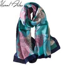 [Visual Axles] Digital Print Silk Scarf Women 2017 Luxury 100% Natural Silk Florals Wraps Shawls and Scarf 180cm*60cm(China)
