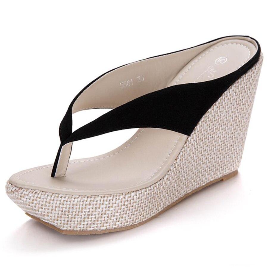 2017 summer women sandals super high-heeled flip flops sand beach woman outdoor shoe large big size 40 41 waterproof platform<br><br>Aliexpress