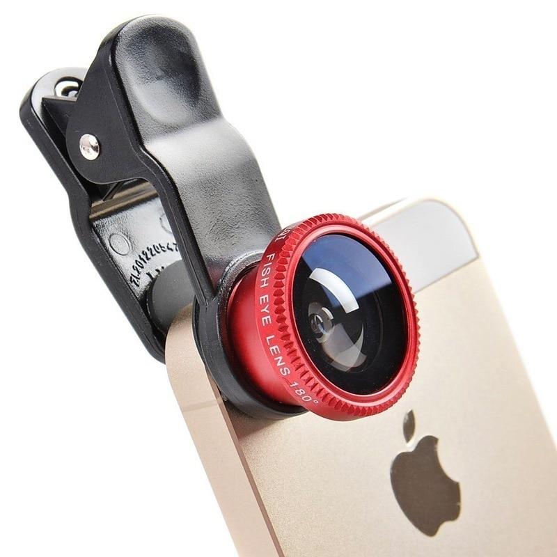 Fisheye Lens 3 in 1 mobile phone clip lenses fish eye wide angle macro camera lens for iphone 6s plus huawei lenovo lentes movil
