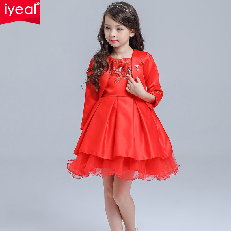 IYEAL Brand 2017 Winter Fashion Girls Kids Pageant Dress Princess Party Ball Gown Formal Prom Dresses With Jacket 3-10 Years <br>