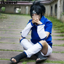 Athemis Naruto Uchiha Sasuke Cosplay Costume and blue headband custom 2 colors for pick