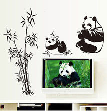 New 2016 Brand Chinese Big Panda Eating Bamboo Wall Sticker Mural Art Vinyl Decal Home Decor adesivo de parede living room