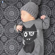 New 2018 Fashion Baby Boy Clothes Long Sleeve Baby Romper Newborn Cotton Baby Girl Jumpsuit Little Monster Infant Clothing