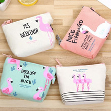 M111 2017 New Cute Women Purses Cartoon Bird Flamingo Obtrapezoid Coin Wallet Originality High Performance Price Ratio Card Bag(China)