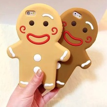 HOT Popular 3D Lovely Cartoon cookies Cute Gingerbread Man girl soft Silicone Rubber phone case cover shell for iPhone 4 4S 4G