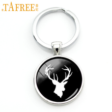 TAFREE Retro charm design wild animal silhouette rustic deer key chain jewelry buck profile men keychain protect wildlife KC499(China)
