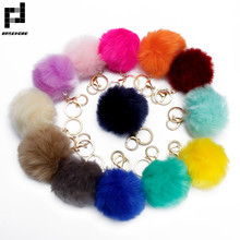 BASEHOME Trinket Pompons Keychains Faux Rabbit Fur Keychain Fluffy Key Chains Trinkets Pom Pom Keychain(Gold Color Chain)