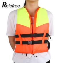 Relefree Polyester Life Jacket Swimming Boating Ski Foam Floating Vest+Whistle Safety Aid
