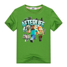 Minecraft Run Away Youth T-Shirt 3-13y Kids Adventure T Shirt 100% Cotton Boys Girls Video Game Tees Tops(China)