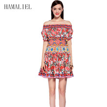 Summer Dress 2017 Runway Designer Women Fashion Print Rose Floral Shoulder Short Sleeve Sexy Slash Neck Charming Party - HAMALIEL Official Store store