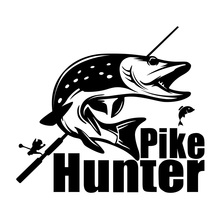 Pike Hunter Stickers 25.4*22.5cm 20*18cm Funny Carp Finishing Car Rear Windshield Stickers Car Styling Decoration Stickers