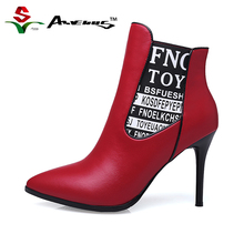 Buy Anvenus Chelsea Boots Genuine Leather Women Letters Print Pointed Toe Ankle Short Boots Female Ladies High Heels Winter Shoes for $79.95 in AliExpress store