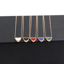 Fashion heart love pendant rose gold stainless steel jewerly black/white/green/blue lover choker necklace