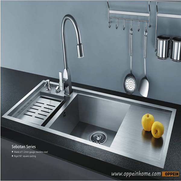 OPPEIN Stainless Steel 18 Gauge Kitchen Sink Set With Faucet,soap  Dispenser,Drain Board (OP PS9214 TC)