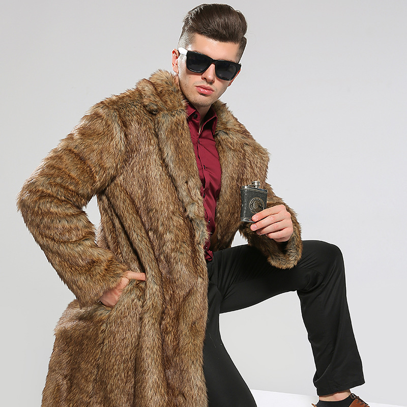 2018 Autumn And Winter New Men's Fox Fur Coat Imitation Fur Coat Windbreaker Men's Long Section Long-sleeved Fur Mink Coat A0133