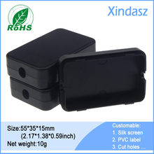 50pcs/Lot Black small plastic junction enclosure 55*35*15mm 2.16*1.38*0.59inch small hinged plastic boxes