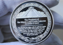 Free shipping 1pcs/lot 1oz TROY OUNCE Silver plated maya bullion coin 2012 Prophecy Mayan Coin