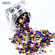 SWEET TREND 1Bottle New Colorful Rhombus Paillette Sparkly Nail Art Sequins Decoration Manicure Glitter Nails Art Tools LAND296