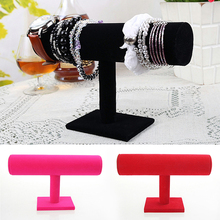 1Pc Black Rose Red 3Colors Bracelet Chain Watch Holder T bar Rack Jewelry Display Organizer Stand Holder Packaging Display Stand(China)