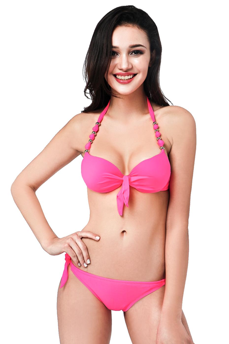 Faerdasi Halter Bikini Set Low Waist Bathing Suits Women Sexy Push Up Beachwear with Tie Side and Center Bow Swimwear Swimsuit 33