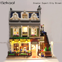 DHL Free Shopping Creator City Street Detective's Office Set With LED light up kit Compatible Legoe 10243 Building Blocks Toys