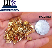 LHX PBYP97 100pcs/lot Brass Metal Special Design Silver Golden Jewelry Gift Box Cabinet Mini Hinge 4 Holes(China)